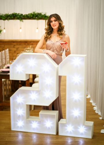illuminated numbers birthday party 21